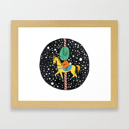 Horse carousel in space Framed Art Print