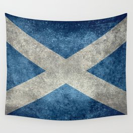 Flag of Scotland, Vintage Retro Style Wall Tapestry