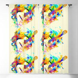 Music instruments colorful painting, guitar, treble clef, butterfly Blackout Curtain