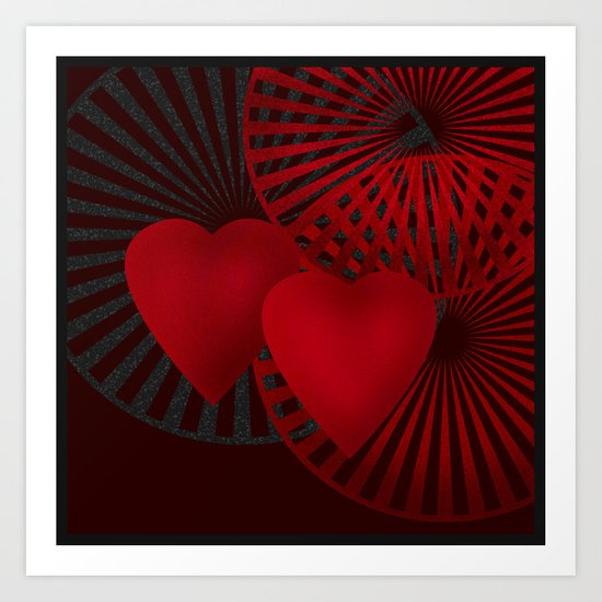Love. The loving hearts .Black background . Art Print
