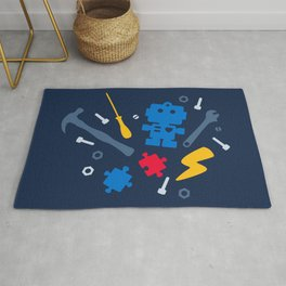 Young Engineer - Blue, Red and Yellow Rug