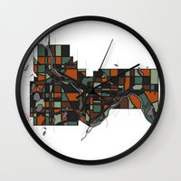 cities Wall Clocks featuring Twin Cities by BigRedSharks