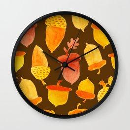 Acorns - Brown Wall Clock