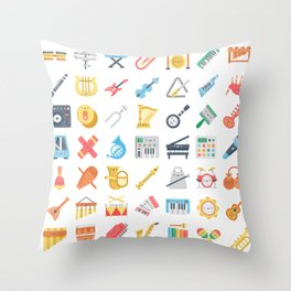 CUTE MUSICAL INSTRUMENTS PATTERN Throw Pillow
