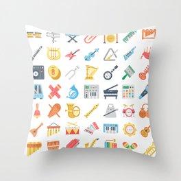 CUTE MUSICAL INSTRUMENTS PATTERN Throw Pillow