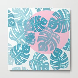 Linocut Monstera Dot Metal Print