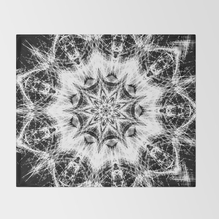 Atomic Black Center Swirl Mandala Throw Blanket