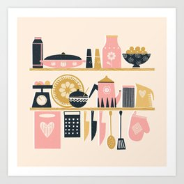 Colorful Cooking In A Mid Century Scandinavian Kitchen Art Print