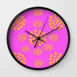 Fuchsia Orange Geometric Abstract Wall Clock
