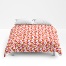 CONFETTI SCATTER RED ORANGE PINK Comforters