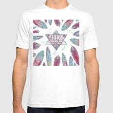 Life is beautiful (watercolor boho feathers) MEDIUM White Mens Fitted Tee