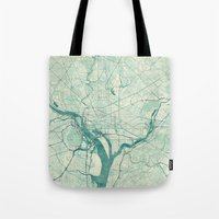 washington Tote Bags featuring Washington Map Blue Vintage by City Art Posters