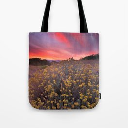 Magical clouds of light at sunset Tote Bag