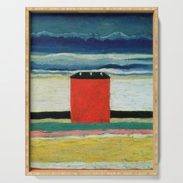 Kazimir Malevich - Red house Serving Tray