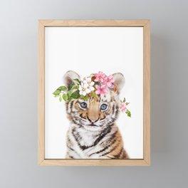 Tiger Cub with Flower Crown Framed Mini Art Print