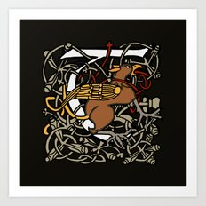 Griffin Letter T Black Version Art Print