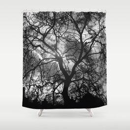 Dramatic London Tree Silhouette Shower Curtain