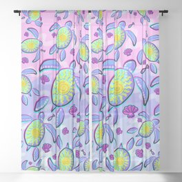 Sea Turtle and Sun Abstract Glitch Ultraviolet Symbol Sheer Curtain