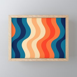 70's and 80's retro colors curving stripes Framed Mini Art Print