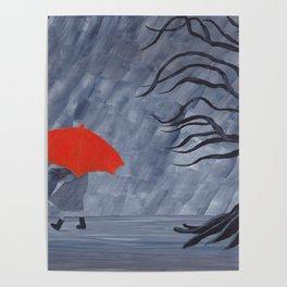 Orange Umbrella Poster