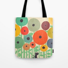 Cat in flower garden Tote Bag