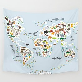 Cartoon animal world map for children and kids, Animals from all over the world, back to school Wall Tapestry