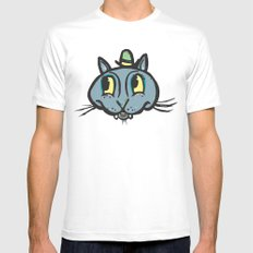 Blue Cat Green Hat Mens Fitted Tee SMALL White