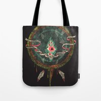 dream catcher Tote Bags featuring Dream Catcher by Hector Mansilla
