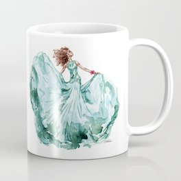 Fashion Blue Turquoise Teal Dress Girl Coffee Mug
