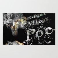 edgar allan poe Area & Throw Rugs featuring Edgar Allan Poe by Irmak Akcadogan