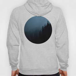 Mid Century Modern Round Circle Photo Graphic Design Navy Blue Pine Forest Trees Silhouette Hoody