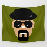 heisenberg Wall Tapestries featuring heisenberg by The Moustache Artist