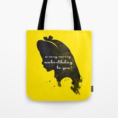 Unbirthday – Alice Silhouette Quote Tote Bag