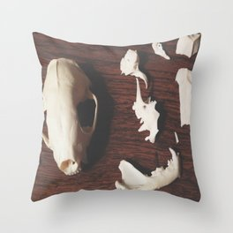 Skunk Skull Puzzle Throw Pillow