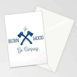 Go Camping Burn Wood Stationery Cards