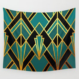 Art Deco Keep On Walking In Turquoise Wall Tapestry