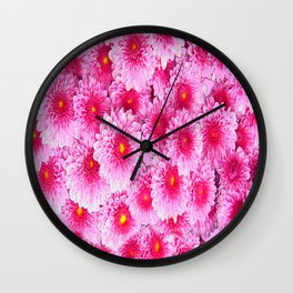 Decorative Pink Mums Colored Art Wall Clock
