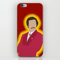 anchorman iPhone & iPod Skins featuring Ron Burgundy: Anchorman by The Vector Studio