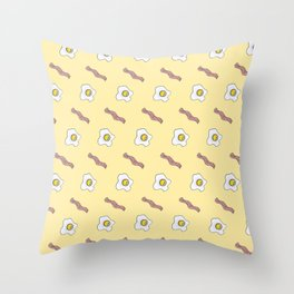Eggs and Bacon Breakfast Foodie Funny Pattern Throw Pillow