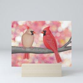 cardinals and sun-kissed bokeh Mini Art Print
