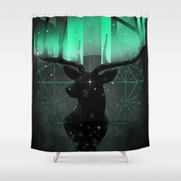 northern lights Shower Curtains featuring Northern Lights by angrymonk
