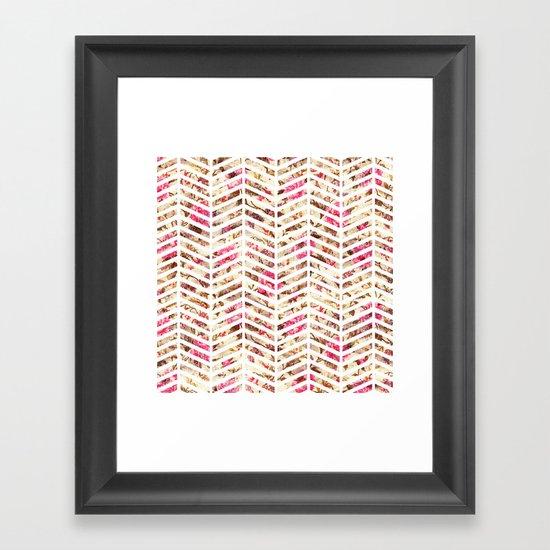 Pink Vintage Floral Girly Chevron Zig Zag Pattern Framed Art Print