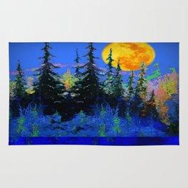 Blue Spruce Trees Moonlight Landscape Rug