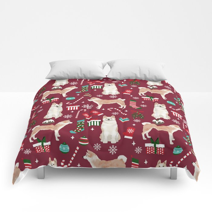 akita christmas dog breed pattern snowflakes mittens candy canes stockings comforters - Christmas Mittens