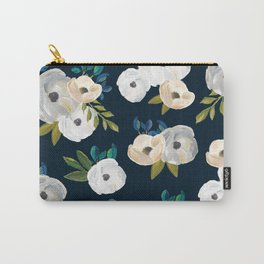 Midnight Florals - Blue & Cream Carry-All Pouch