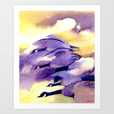 Canada Geese - Westering Home Art Print