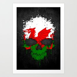 Flag of Wales on a Chaotic Splatter Skull Art Print