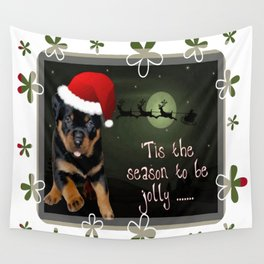 Tis The Season To Be Jolly Cute Rottweiler Christmas Wall Tapestry