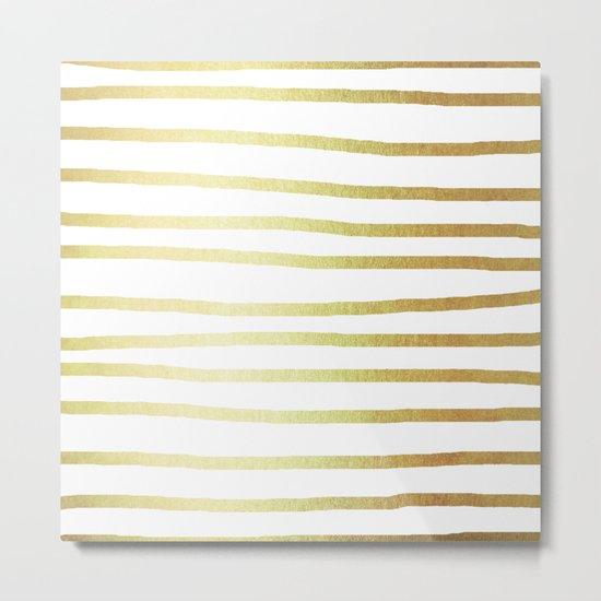 Simply Drawn Stripes 24k Gold Metal Print