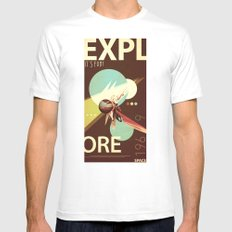 Vintage Space Poster Series I - Explore Space - It's Fun! MEDIUM Mens Fitted Tee White